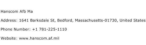 Hanscom Afb Ma Address Contact Number