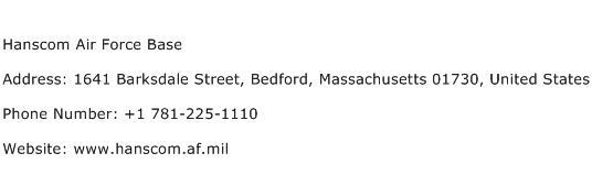 Hanscom Air Force Base Address Contact Number