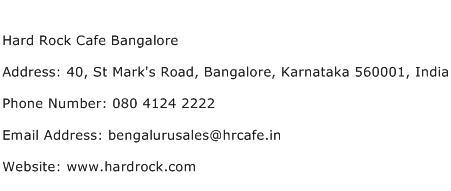 Hard Rock Cafe Bangalore Address Contact Number