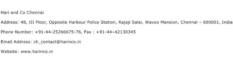 Hari and Co Chennai Address Contact Number