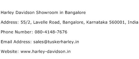 Harley Davidson Showroom in Bangalore Address Contact Number