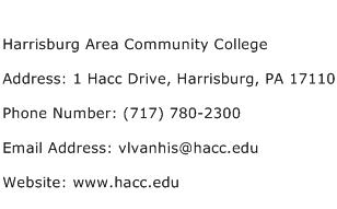Harrisburg Area Community College Address Contact Number