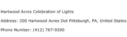 Hartwood Acres Celebration of Lights Address Contact Number