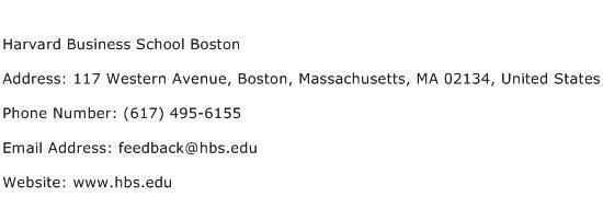 Harvard Business School Boston Address Contact Number