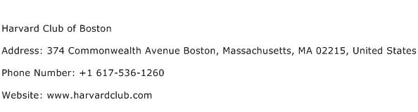 Harvard Club of Boston Address Contact Number