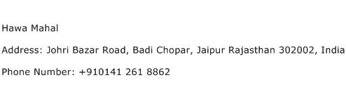 Hawa Mahal Address Contact Number