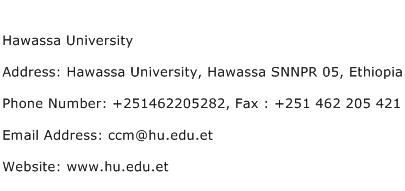 Hawassa University Address, Contact Number of Hawassa University