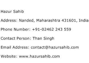 Hazur Sahib Address Contact Number