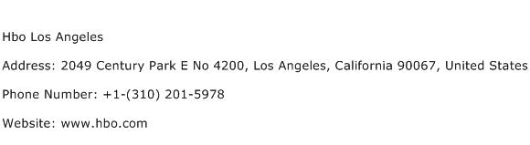 Hbo Los Angeles Address Contact Number