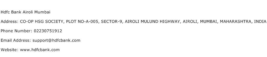 Hdfc Bank Airoli Mumbai Address Contact Number