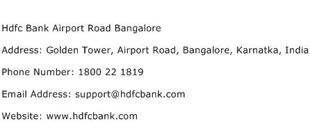 Hdfc Bank Airport Road Bangalore Address Contact Number