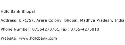 Hdfc Bank Bhopal Address Contact Number