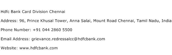 Hdfc Bank Card Division Chennai Address Contact Number