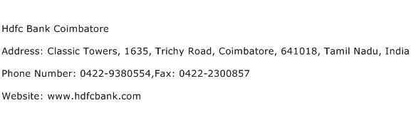 Hdfc Bank Coimbatore Address Contact Number