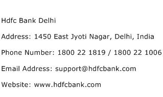 Hdfc Bank Delhi Address Contact Number