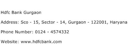 Hdfc Bank Gurgaon Address Contact Number