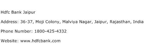Hdfc Bank Jaipur Address Contact Number