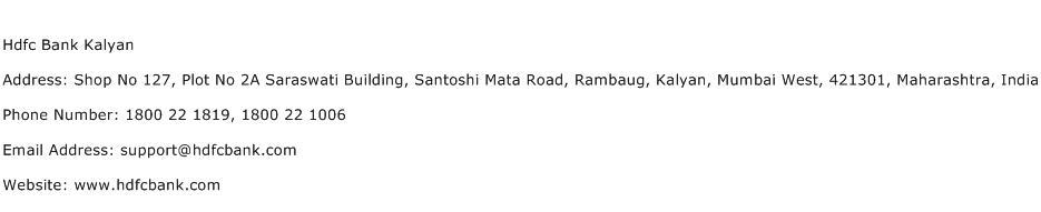 Hdfc Bank Kalyan Address Contact Number
