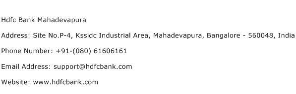 Hdfc Bank Mahadevapura Address Contact Number