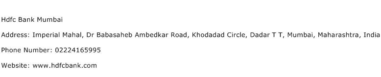 Hdfc Bank Mumbai Address Contact Number