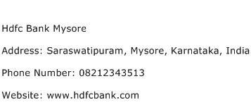 Hdfc Bank Mysore Address Contact Number