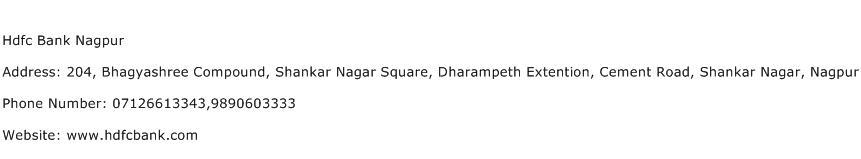 Hdfc Bank Nagpur Address Contact Number
