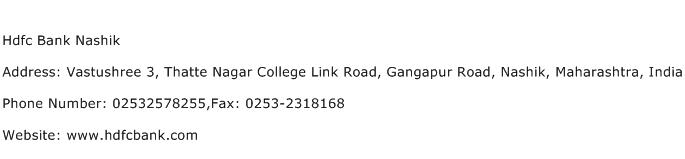 Hdfc Bank Nashik Address Contact Number