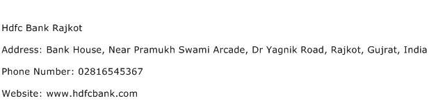 Hdfc Bank Rajkot Address Contact Number