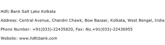 Hdfc Bank Salt Lake Kolkata Address Contact Number