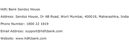 Hdfc Bank Sandoz House Address Contact Number