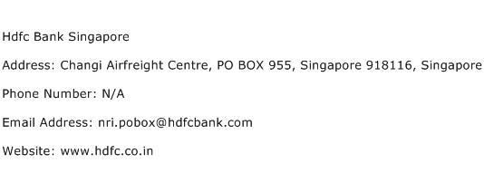 Hdfc Bank Singapore Address Contact Number