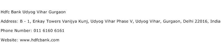 Hdfc Bank Udyog Vihar Gurgaon Address Contact Number