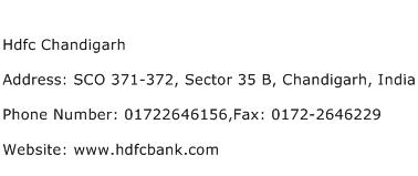 Hdfc Chandigarh Address Contact Number