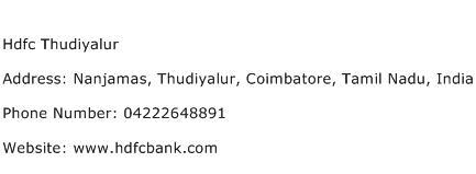 Hdfc Thudiyalur Address Contact Number