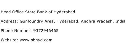 Head Office State Bank of Hyderabad Address Contact Number