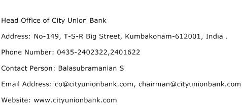 Head Office of City Union Bank Address Contact Number