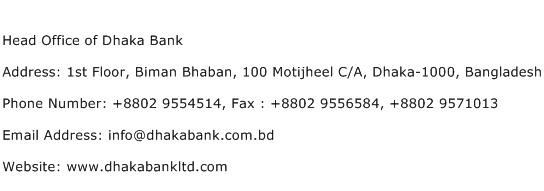 Head Office of Dhaka Bank Address Contact Number