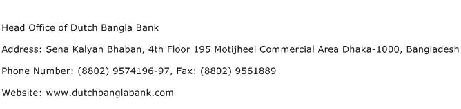 Head Office of Dutch Bangla Bank Address Contact Number
