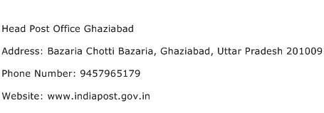 Head Post Office Ghaziabad Address Contact Number