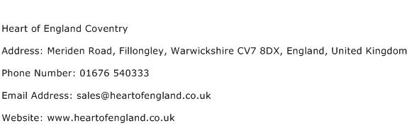 Heart of England Coventry Address Contact Number