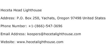 Heceta Head Lighthouse Address Contact Number