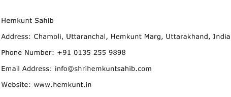 Hemkunt Sahib Address Contact Number