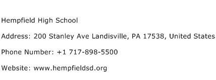 Hempfield High School Address Contact Number