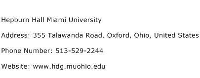 Hepburn Hall Miami University Address Contact Number