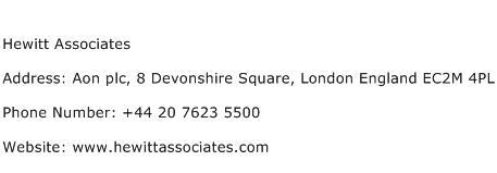 Hewitt Associates Address Contact Number