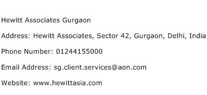 Hewitt Associates Gurgaon Address Contact Number