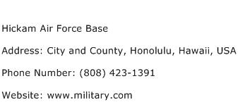 Hickam Air Force Base Address Contact Number
