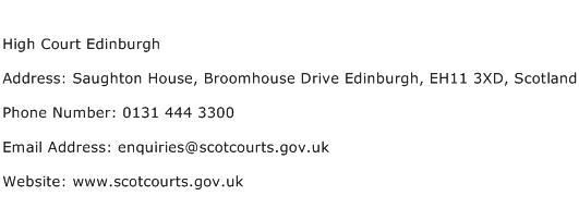 High Court Edinburgh Address Contact Number