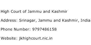 High Court of Jammu and Kashmir Address Contact Number