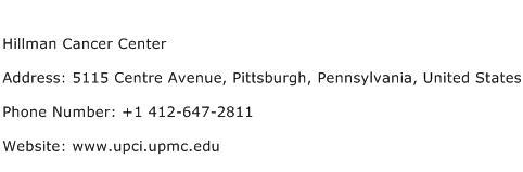 Hillman Cancer Center Address Contact Number